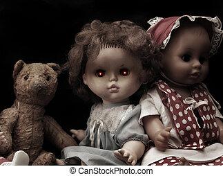 muñeca, serie, -, oscuridad, vendimia, fantasmal