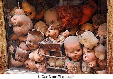 Muñecas, muñeca, Muchos, vitrina, viejo, pelo, pequeño,...