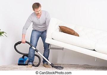 muži, cleaning., ubytovat se, místo, voják, cleaner., ...