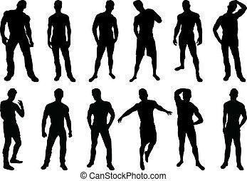 muži, silhouettes
