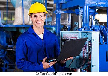 mužský, inženýr, s, laptop
