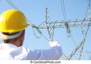 mužský, inženýr, stálý, v, elektřina, nádraží