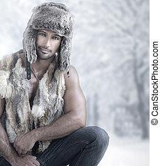 mužský, móda, zima