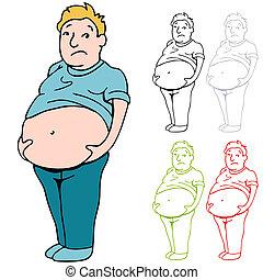 mužský, těžkopádný, břicho