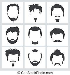 mužský, vlas, grafika