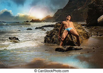 mužský, vzor, dále, pláž
