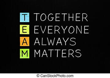 mužstvo, dohromady, everyone, always, hmoty