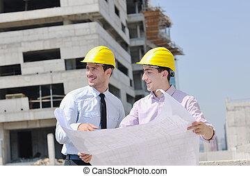 mužstvo, o, architekt, dále, construction poloha