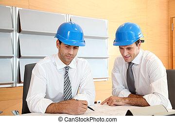 mužstvo, o, architekt, pracovní oproti, konstrukce, plán