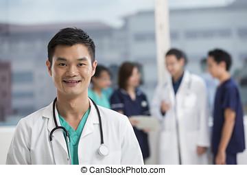 mužstvo, o, multi- etnický, lékařský personál