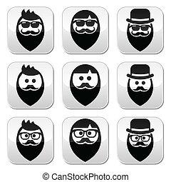 mu, barba, bigode, ou, homem