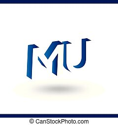 MU initial letter with negative space logo icon vector...