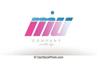 mu m u alphabet letter combination pink blue bold logo icon...