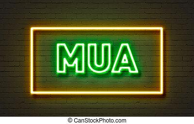 mua, neon signera, på, tegelsten vägg, bakgrund.