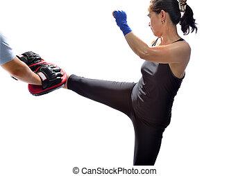muay, beoefenen, techniek, thai, boxing, vrouw