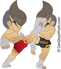 muay, tailandés, pelea