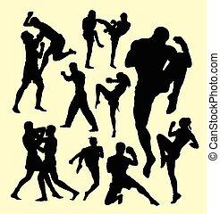 muay, tailandês, boxe, silueta, desporto