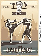 Muay Thai Boxing Poster - Colorful kickboxing poster with...