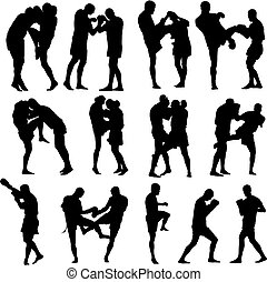Muay Thai martial art vector illustration collection. Over twenty fight poses.
