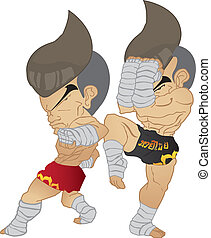 Muay Thai : reverse elbow VS A guarded stance