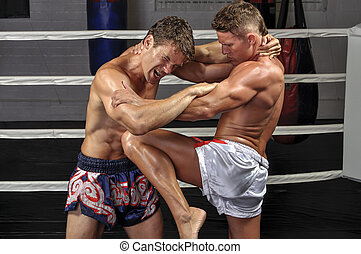 Muay Thai match - Two Caucasian Muay Thai fighters lock up...
