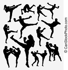muay thai sport silhouettes - Muay Thai boxing. Male and...