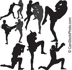 Muay Thai vector silhouettes - Muay Thai (Thai Boxing) fight...