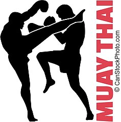 Muay thai word with fight