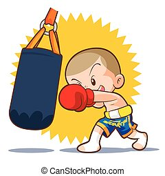 muaythai sandbag boxing hit - muaythai kids sandbag boxing...