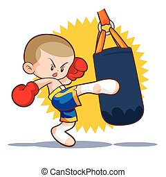muaythai sandbag boxing kick - muaythai kids sandbag boxing...