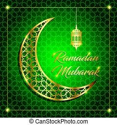 mubarak, banquete, saludo, ilustración, ramadan, vector, ...