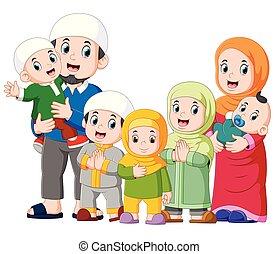 mubarak, célébrer, ied, famille, enfants, musulman, cinq