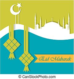 mubarak, eid, tarjeta, saludo