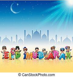 mubarak, eid, vrolijke , spotprent, vieren, geitje
