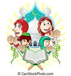 mubarak, enfermo, saludo, eid, tarjeta, islam