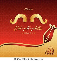 mubarak, festival, salutation, illustration, sacrifice, islamique, vecteur, eid-al-adha, carte