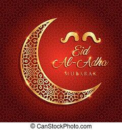 mubarak, fiesta, saludo, ilustración, sacrificio, islámico, ...