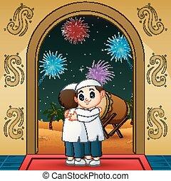 mubarak, gens, souhaiter, étreindre, eid, dessin animé