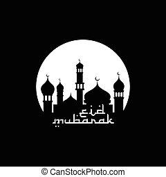 mubarak, musulmán, ramadan, celebración, eid, feliz, kareem