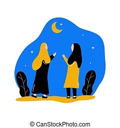 mubarak, niñas, eid, sacudida, mano, dos