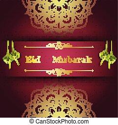 mubarak, saludo, ketupat, islámico, eid, tarjeta