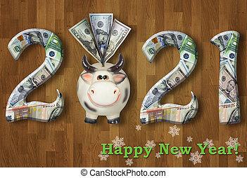 mucca, 2021, 2, scatola, soldi