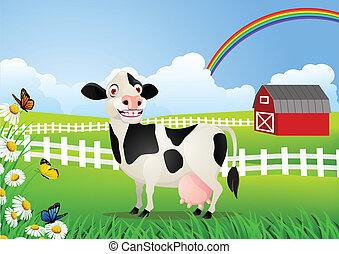 mucca, cartone animato, in, pascolo