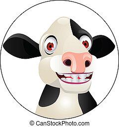 mucca, cartone animato, testa