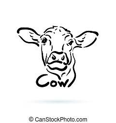 mucca, mano fattoria, fondo., vettore, disegnato, animal., bianco