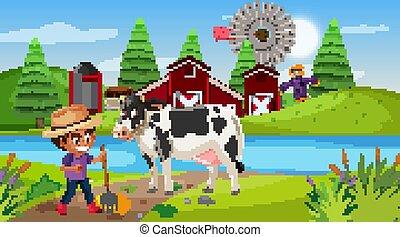 mucca, ragazzo, scena, fattoria