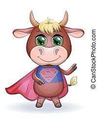 mucca, rosso, calendario, orientale, cartone animato, mantello, 2021, toro, simbolo, superuomo, carino, costume
