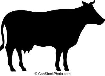 mucca, silhouette, vettore
