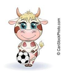 mucca, somiglianza, palla, esagoni, 2021, calcio, toro, simbolo, proprio, fra, punti, carino, cartone animato