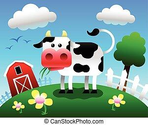 mucca, vettore, cartone animato, illustrazione